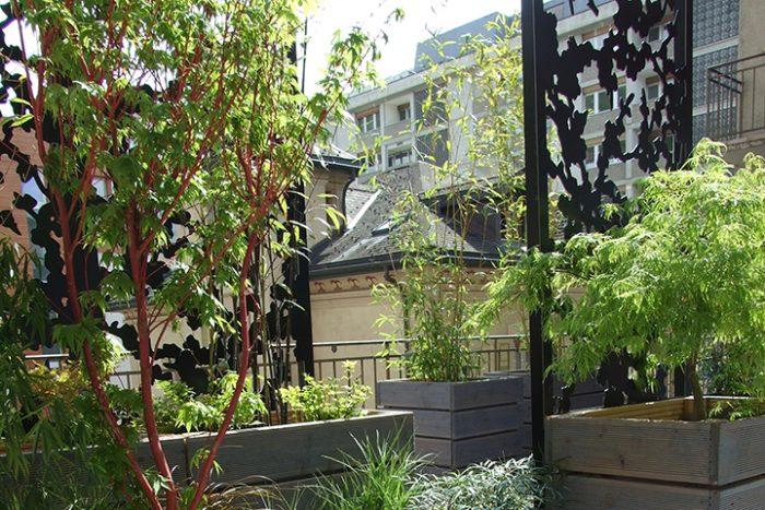 brise-vue de terrasse sur jardinière