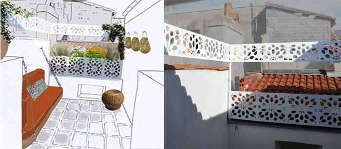 brise-vue de terrasse sur mesure en bandeaux