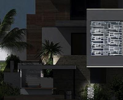 résille de façade - vue de nuit