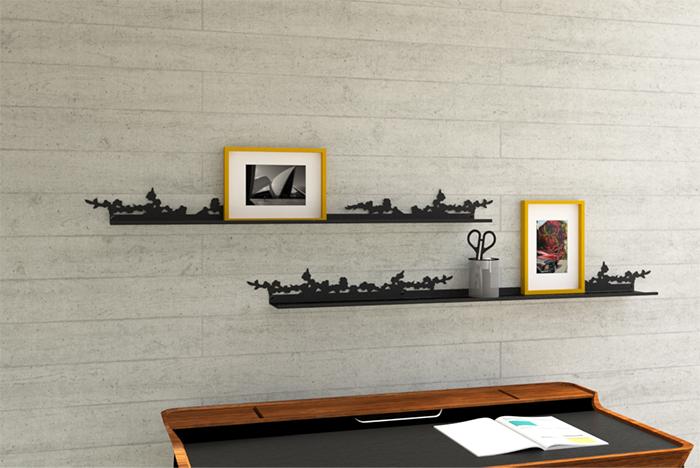 étagère murale dans un bureau
