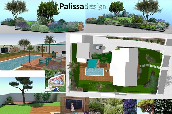 la conception du jardin arrière et du massif central