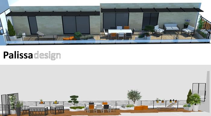 """décoration de la terrasse sud sur un thème """"vague"""""""