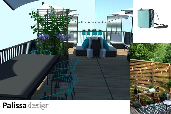 décoration de terrasse vue sur la salle a manger d'extérieur