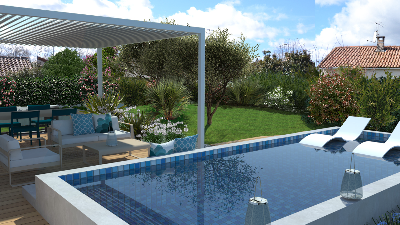 conception de jardin avec mini piscine