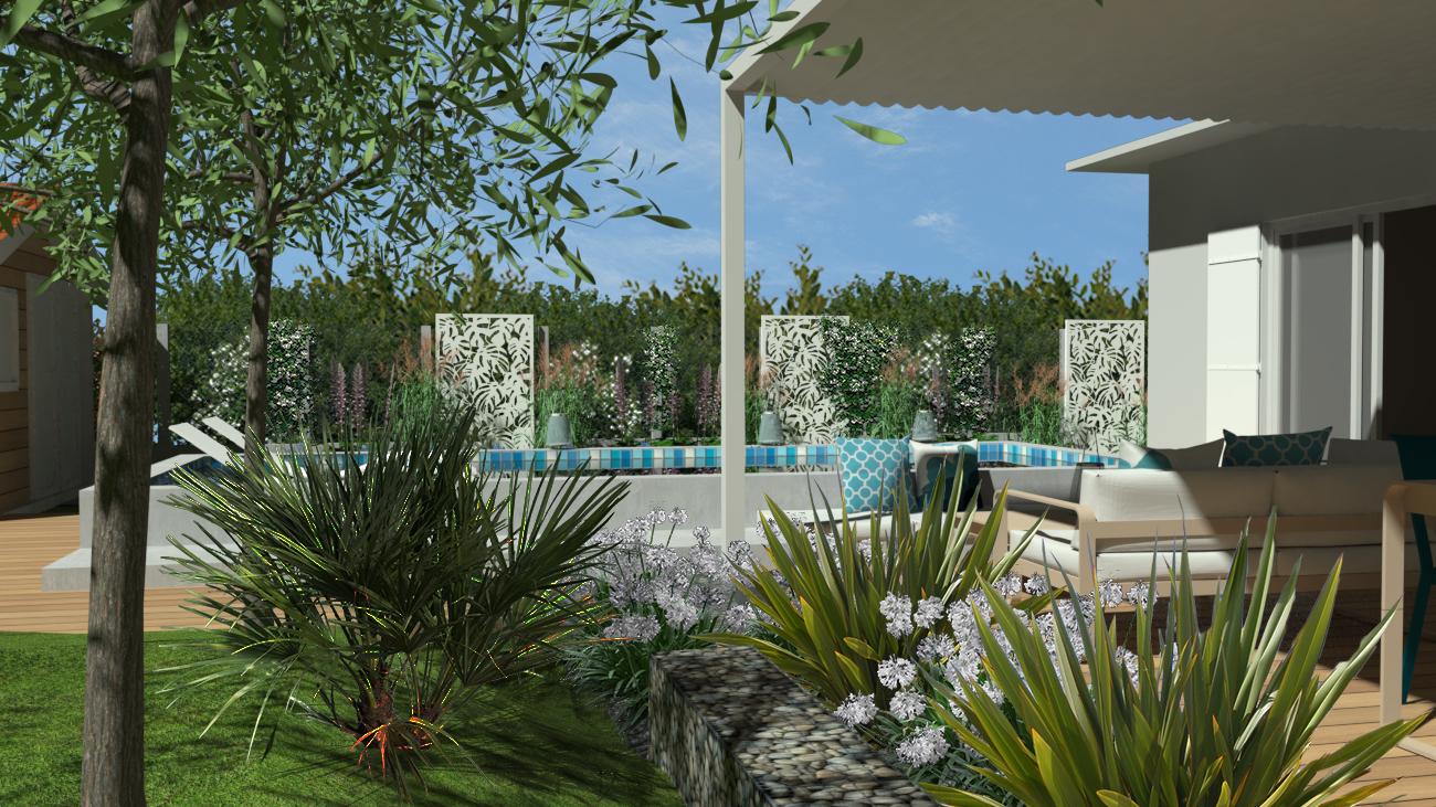 conception de petit jardin design avec mini piscine et pergola bioclimatique