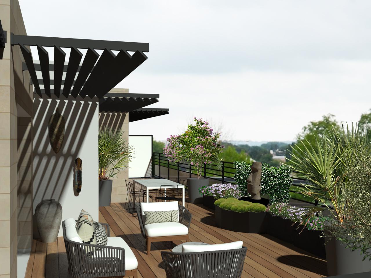 décoration de terrasse avec mise en valeur du MOAI et mise en place de bordure en demi cercle