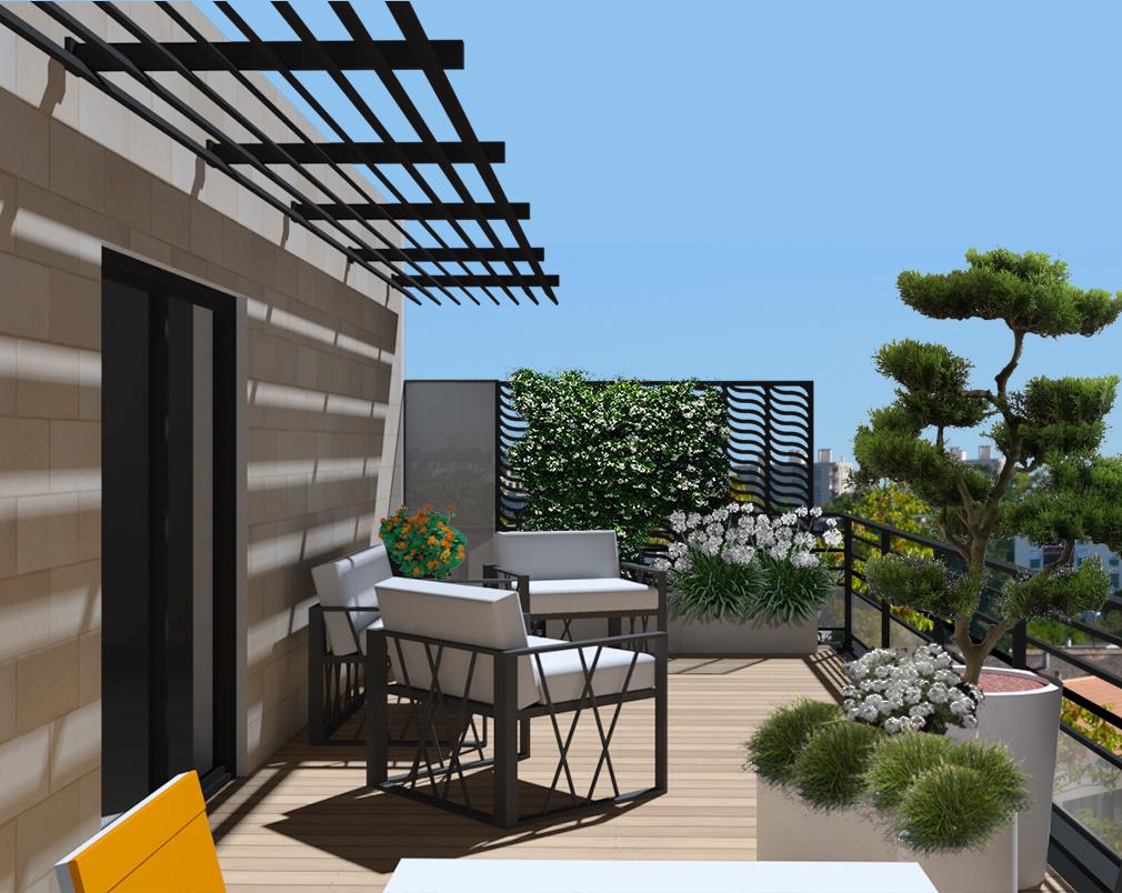 décoration de terrasse sur toit exposition sud avec brise vue