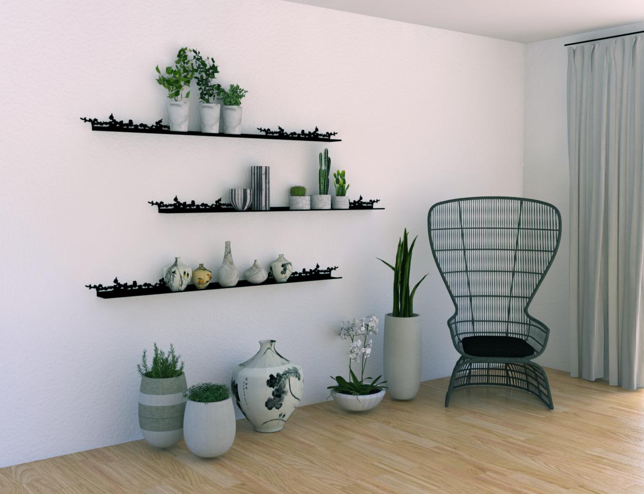 étagère murale design au motif de branches de cerisier pour exposer une collection de petites plantes et de céramiques