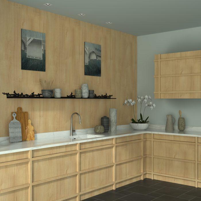 étagère murale motif cerisier dans une cuisine de style scandinave