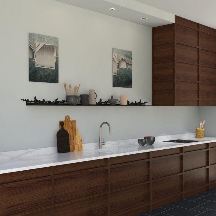 étagère murale motif cerisier dans une cuisine éléangte en bois sombre