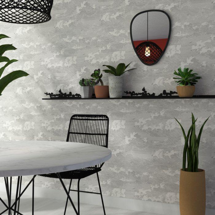 étagère muralemotif cerisier pour créer une ambiance végétale dans un salon