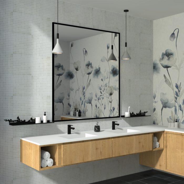 étagère murale cerisier pour animer une salle de bain