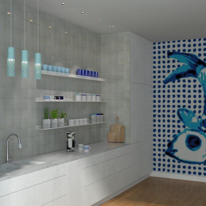 étagère murale motif cubes blanc dans une cuisine d'esprit pop