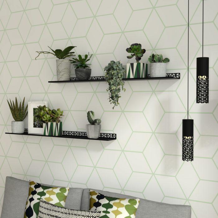 étagère murale motif cubes pour créer un mur végétal dans un salon